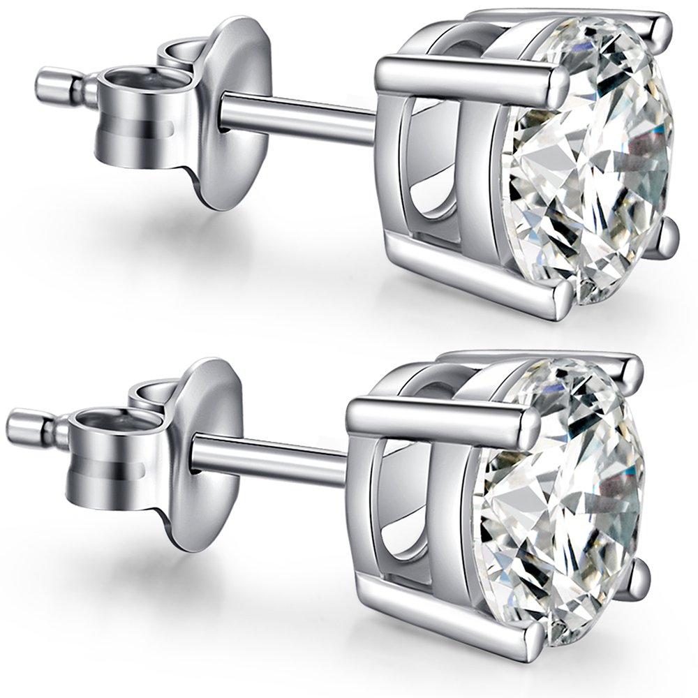Silver Cubic Zirconia Earrings - Hypoallergenic Sterling Silver CZ Diamond Stud Earrings Nickel Free,Princess Cut Round Fake Diamond Studs Men Earrings,Gold Plated Earrings Stud for Women Girls