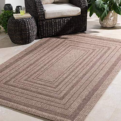 Large Outdoor Solid 2' x 3' Rectangle Indoor/Outdoor 100% Polypropylene Dark Brown/Camel Area ()