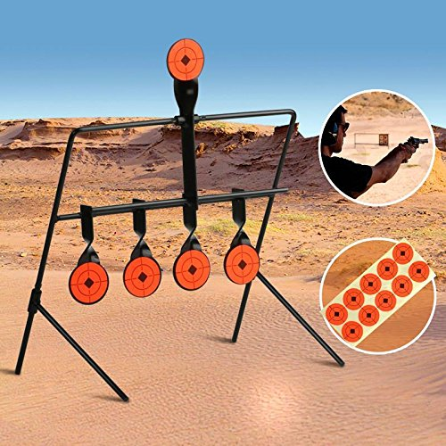 Topeakmart 5 Targets Self Resetting Spinning Air Gun Rifle Shooting Metal Target Set For (22 Rimfire Resetting Target)