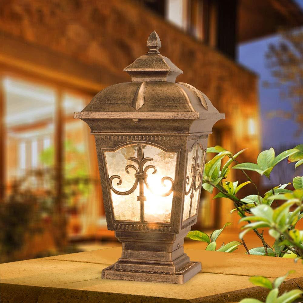 European Waterproof Pillar Light, Column Head Light/Door Column Light/Outdoor Wall Lamp, Villa Wall Door Lamp, Garden Lamp (Color : Bronze 1) by Outdoor lighting (Image #3)