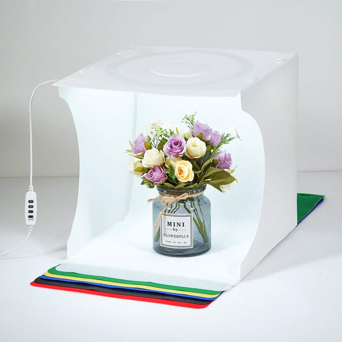 Fotolichtbox Tragbares Fotostudio Lichtzelt Schie/ßzelt-Set Faltbares Kleinprodukt Schmuck-Fotokabinen-Set Wei/ßer Soft Cube mit umschaltbaren 3-Farben-LED-Kreislichtern . 30 cm