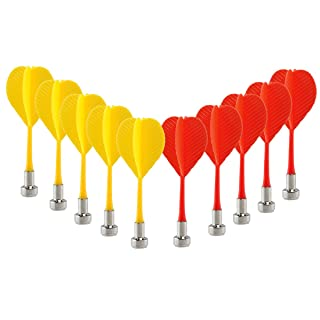10pcs Replacement Durable Safe Plastic Wing Magnetic Darts Bullseye Target Game Toys (Red Yellow)