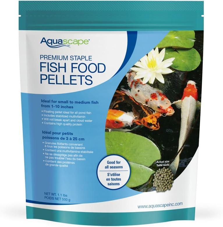 Aquascape Premium Staple Fish Food Pellets for Small to Medium Pond Fish, Medium Pellet, 1.1 Pounds | 98867