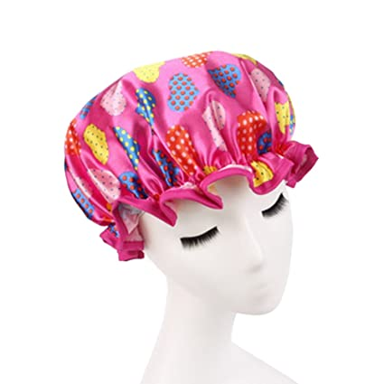 dorapocket Lady Cute Love corazón doble capa Gorro de ducha reutilizable gorros Mujer Spa ducha sombrero
