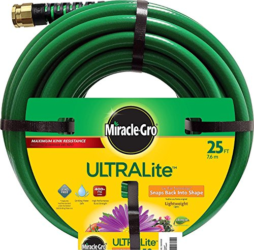 Swan Products Miracle-Gro MGUL12025 UltraLite Garden Hose 25 ft, 1/2' diameter, Green