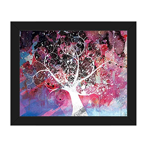 Mottled Cerise Willow Tree Abstract Wall Art  on Canvas with Black