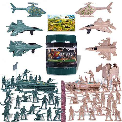 Army Men Action Figures Army Toys of WW 2 Military Playset with a Map, Toy Tanks, Planes, Flags, Soldier Figures, Fences & Accessories 232 PCs