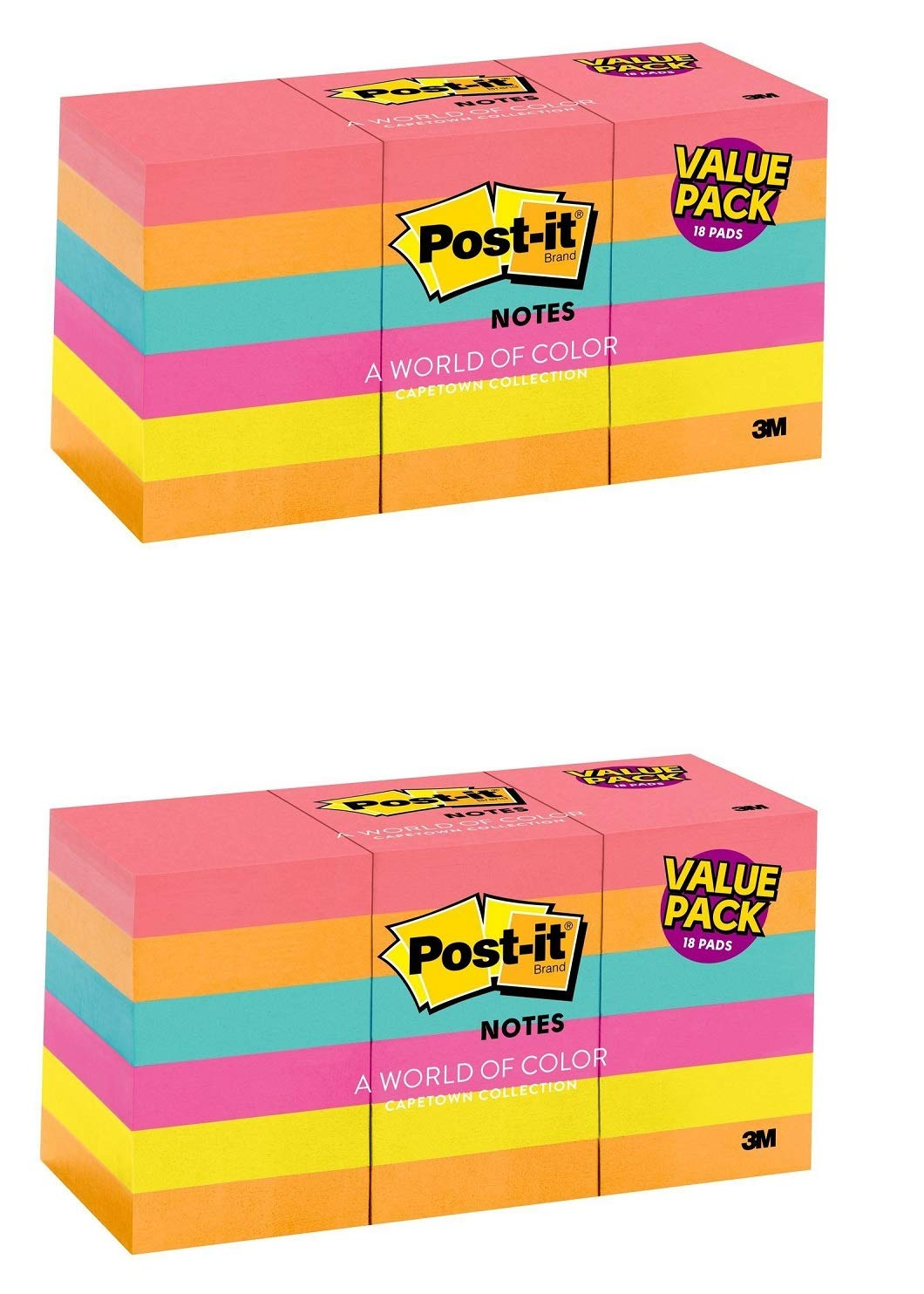 Notes, Cape Town Colors, Americas number 1 Favorite Sticky Note, Great for Reminders, Recyclable, 1 3/8 in. x 1 7/8 in, (653-18AU)