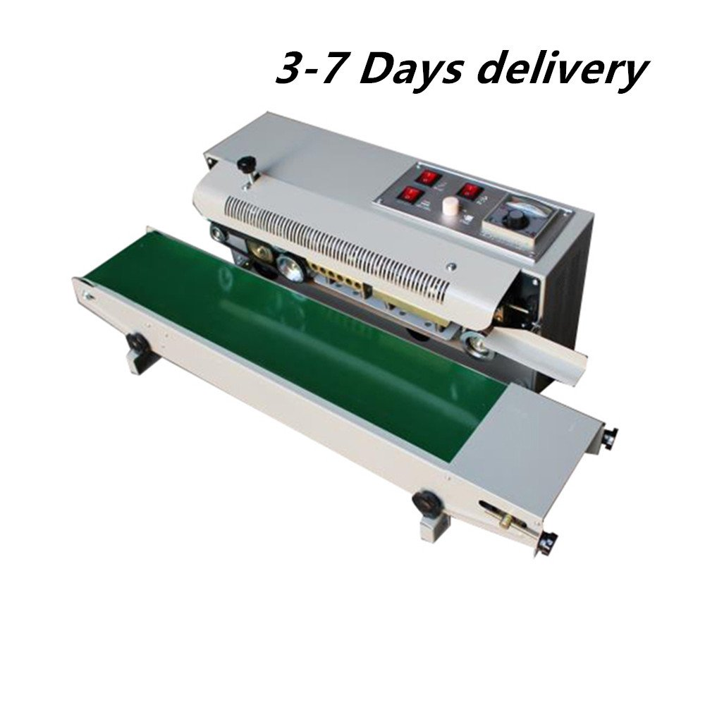 Zorvo Continuous Sealing Machine Auto Sealing Sealer Machine Horizontal Sealing Sealer for Plastic Bag Band PVC Membrane Bag Film Automatic Steel wheel printing --Shipping from us,3-7 days delivery