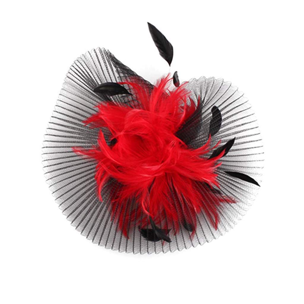 Black and Red Wedding Hair Fascinators Hat Feather Mesh Bridal Headdress Kentucky Party Hat
