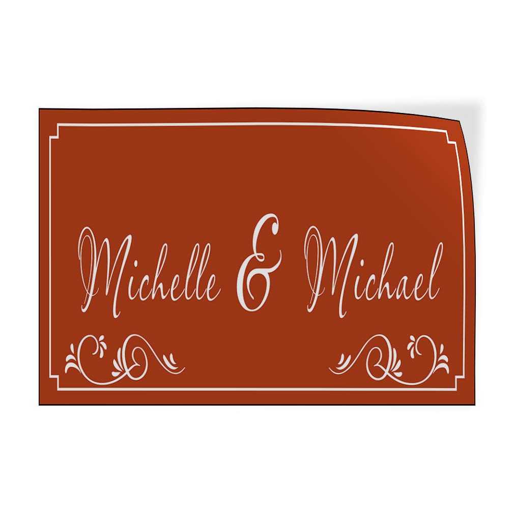 Custom Door Decals Vinyl Stickers Multiple Sizes Anniversary Husband Wife Names Brown Lifestyle Happy Anniversary Outdoor Luggage /& Bumper Stickers for Cars Brown 34X22Inches Set of 10