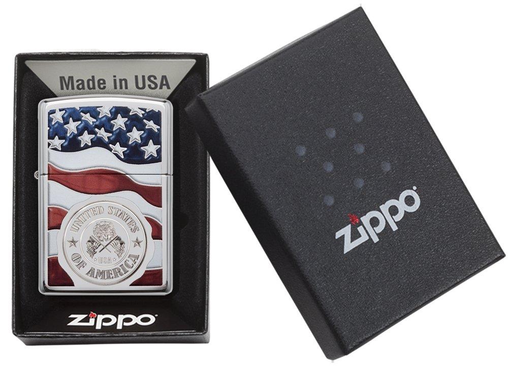 Zippo America Stamp on Flag Pocket Lighter, High Polish Chrome by Zippo (Image #5)