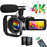 Video Camera 4K Camcorder Vlogging Camera for YouTube UHD 30M 30FPS Digital Zoom Camcorder 3 In Touch Screen Support…