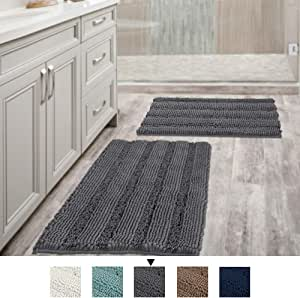 Extra Thick Chenille Bath Mats Set Non Slip Striped Bath Rugs Bathroom Rugs Mats Soft and Water Absorbent Shag Indoor Kitchen Carpet - (Set of 2-50cm x 81cm / 43cm x 61cm) Grey