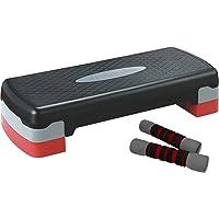 Sportplus SP-ASP-001 - Aerobic Step/Stepper pour Fitness - Fourni avec 2Haltères de 1kg - Hauteur Réglable - Poids max de l'Utilisateur : 120kg