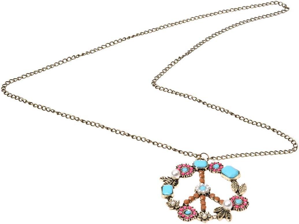 Gaoominy Collar de Cadena Colgante de Cuenta Perla Diamante de Imitacion Signo Simbolo de Paz Bronce Antiguo