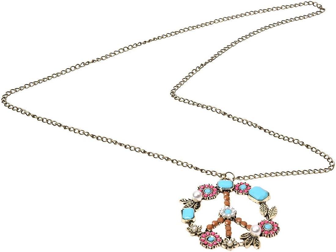 TOOGOO Collar de Cadena Colgante de Cuenta Perla Diamante de Imitacion Signo Simbolo de Paz Bronce Antiguo