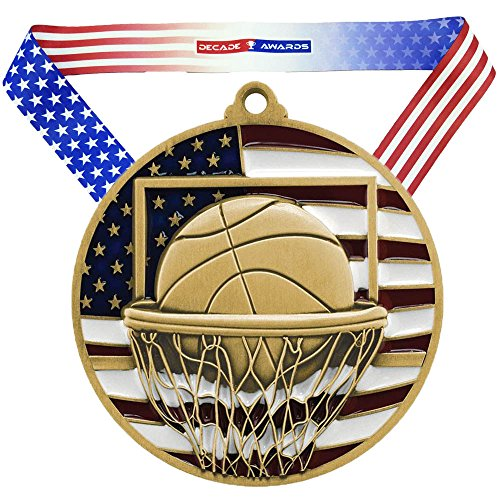 Decade Awards Basketball Patriotic Medal – Gold   Red, White and Blue Hoops Award   Includes Stars and Stripes American Flag V Neck Ribbon   2.75 Inch Wide