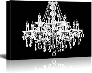 "wall26 Canvas Wll Art - Crystal White Chandelier on Black Background - Giclee Print and Stretched Ready to Hang - 16""x24"""