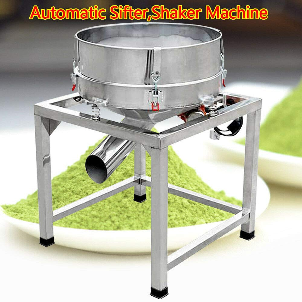 DONNGYZ Electric Stainless Steel Vibration Sieve Machine,Commercial,Industrial Automatic Sifter Shaker Machine + 2 X Screens 110V 300W(US Stock) by DONNGYZ