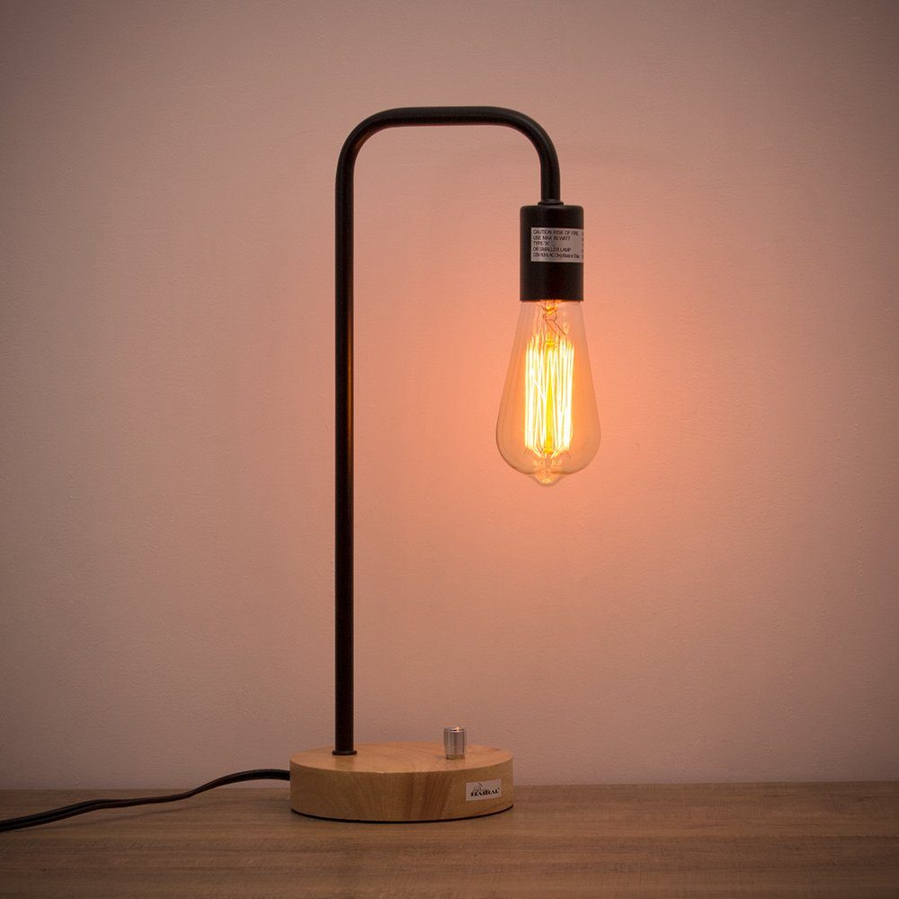 HAITRAL Desk Lamp Wooden Industrial Table Lamp for Office, Bedroom, Living room