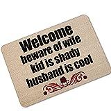 Beware of Wife Kid is Shady, Husband is Cool Welcome Doormat - Large Outdoor Door Mats Rubber Shoes Scraper for Front Door Entrance Outside Doormat Patio Rug Dirt Debris Mud Trapper,23.6'' W x 15.7'' H