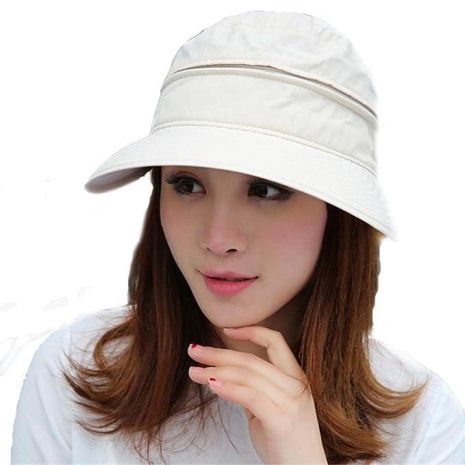 Women Floppy Hat Summer Zipper Big Foldable Beige Hat Outdoor Cycling Cotton  Sun Hat Mask Beach 84f33a76cf4