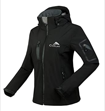 Winter Water Waterproof Breathable Softshell Jacket Women Windbreaker Outdoor Sport for Climing Hiking Black S