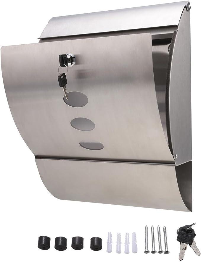 Buzón Correos Exterior Acero Inoxidable con Compartimento para Periódicos - Buzones de Exterior para Cartas y Correo Postal, 2 llaves: Amazon.es: Bricolaje y herramientas