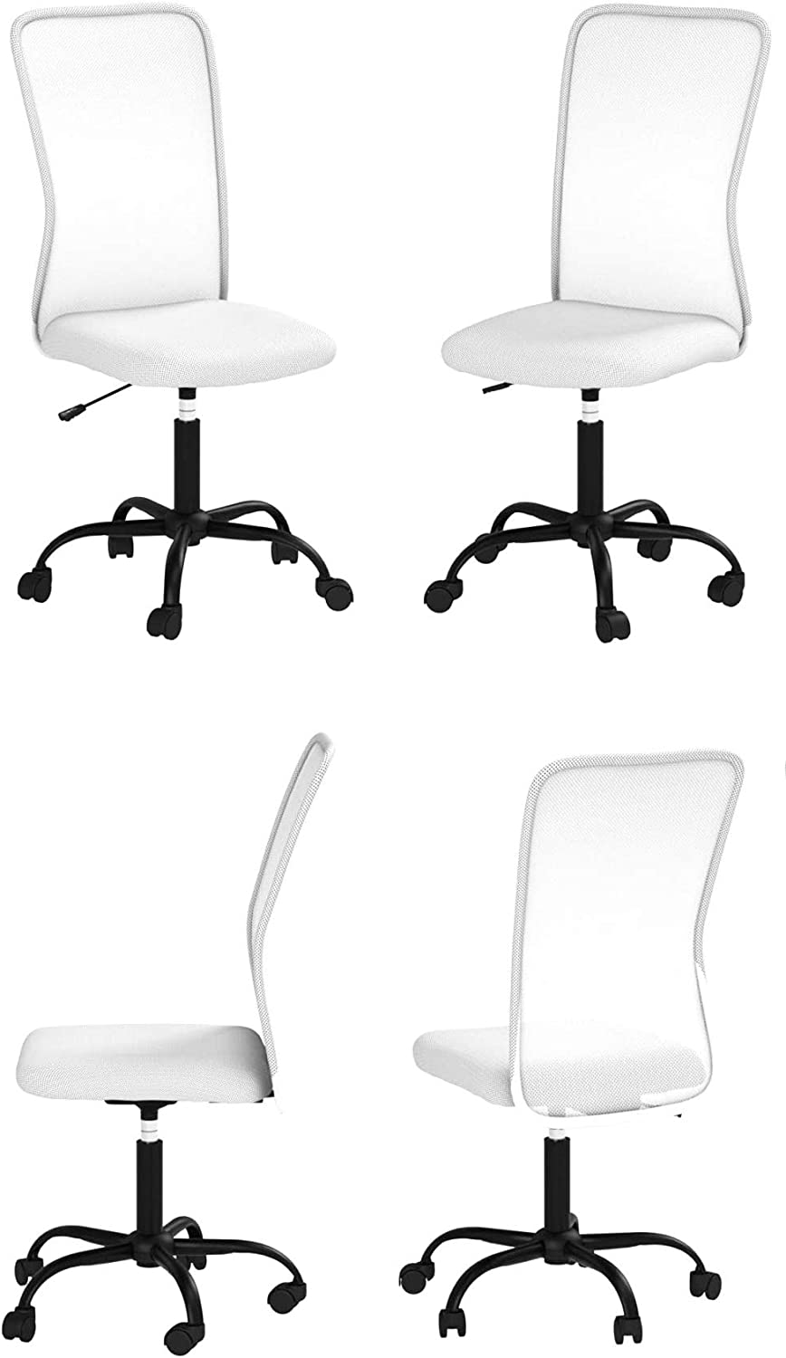 Ergonomic Cute Mesh Office Chair, Armless Lumbar Support, Chic Modern Desk PC Chair Black, Mid Back Adjustable Swivel for Home Office Conference Study Room Mesh Office Chair - White - Set of 4