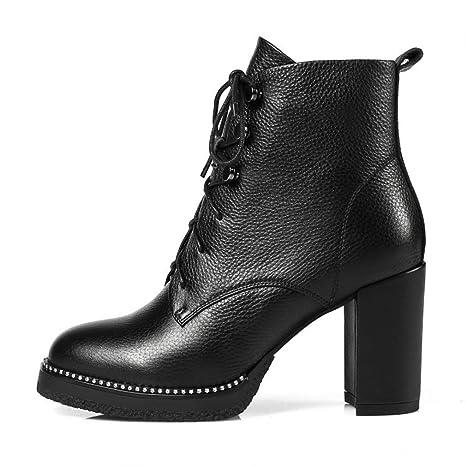 YAN Zapatos de Moda para Mujer Botines Europeos Remache de Metal Tacones Altos en Bruto Plataforma
