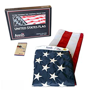 Annin Flagmakers Model 2460 American Flag 3x5 ft. Nylon SolarGuard Nyl-Glo , 100% Made in USA with Sewn Stripes, Embroidered Stars and Brass Grommets.