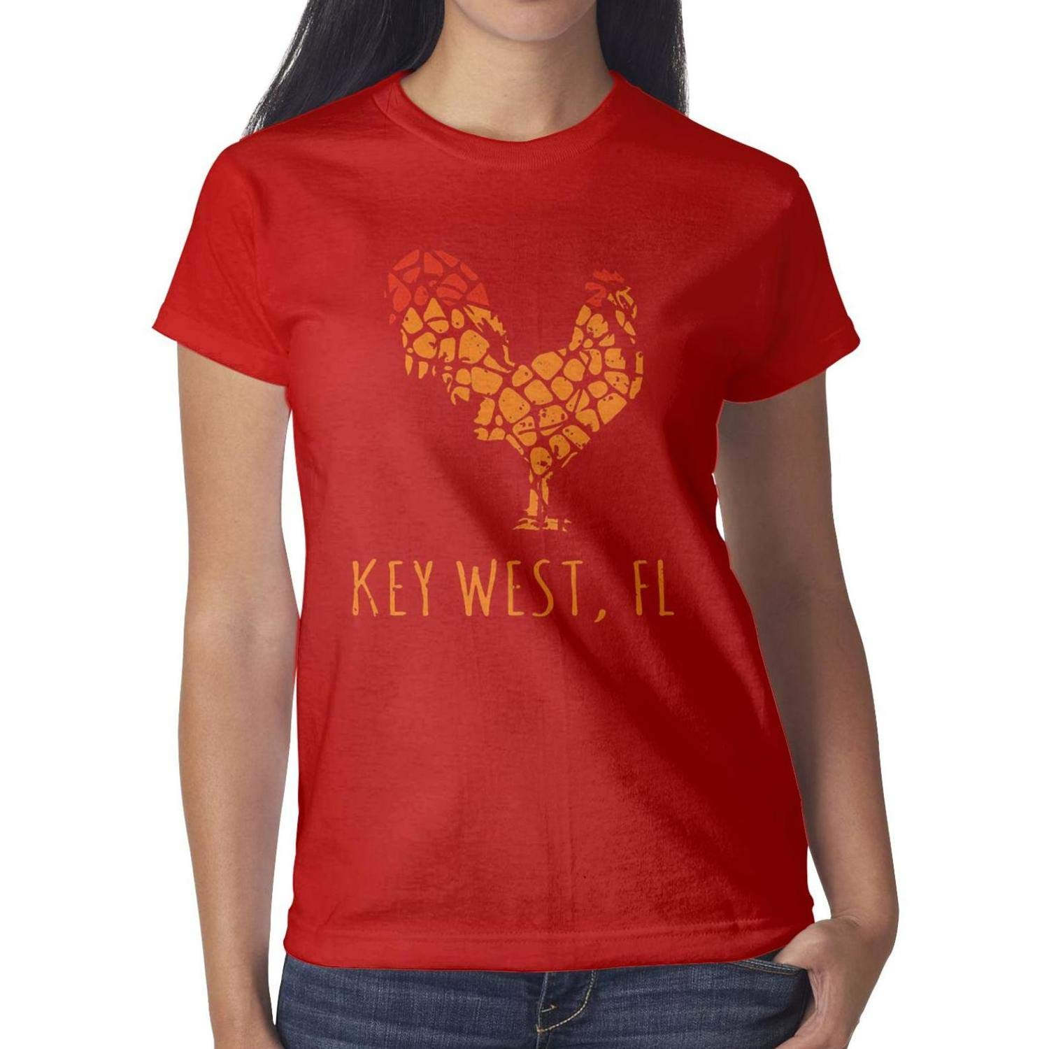 Women Key West Island Florida Rooster T Shirt Classic Workout Round Neck Short Sleeve T Shirts