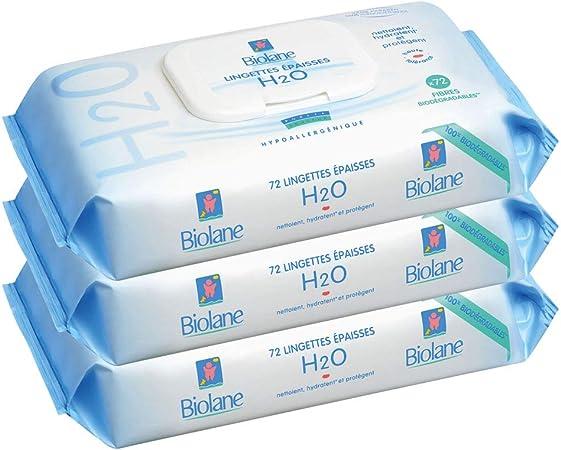 Biolane lingettes nettoyantes /épaisses H2O ecorecharge 72 lingettes peau sensible en fibres biod/égradables