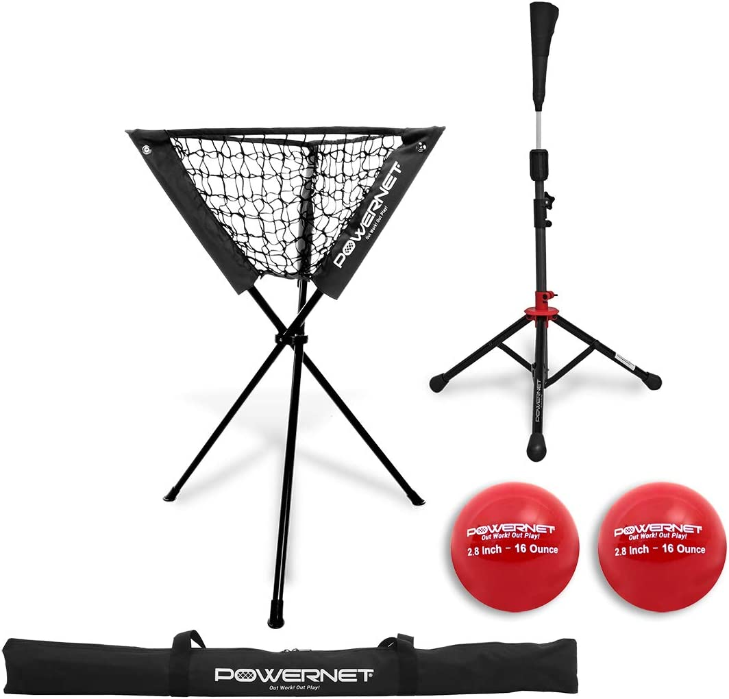 PowerNet Coach s Bundle Ball Caddy Tee 2 Pack Heavy Weighted Training Balls for Baseball Softball Focus on Hitting Drills Improve Contact Rate Power and Follow Through
