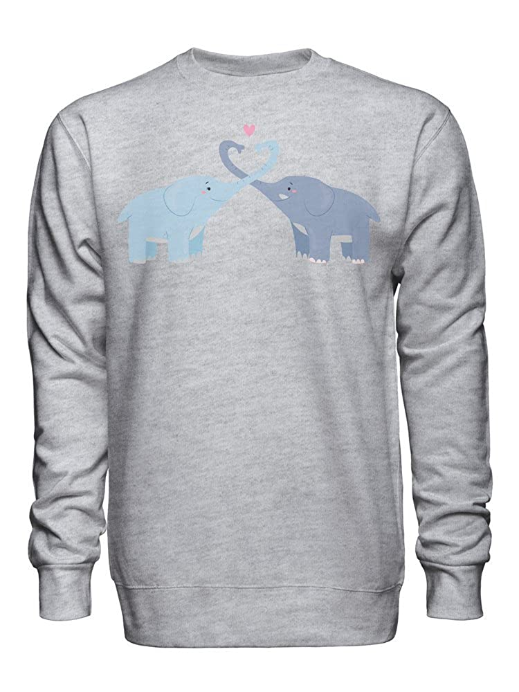 graphke Two Cute Blue Elephants in Love Hugging with Their Trunks Unisex Crew Neck Sweatshirt