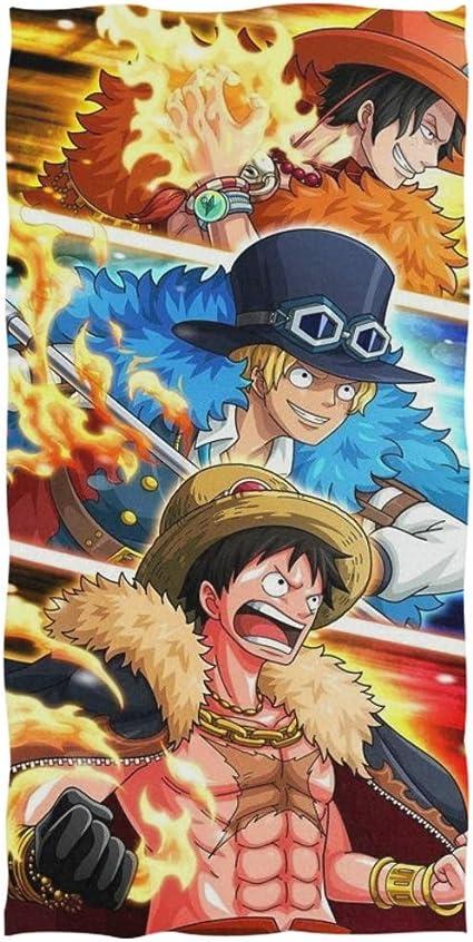 KaiWenLi One Piece S/érie//Luffy et Zoro Demi-Visage//Anime Serviette de Bain//Plage Serviette de Plage//Sport Fitness Yoga Serviette//Super Absorbent//Doux et Confortable Taille : 40 * 80CM