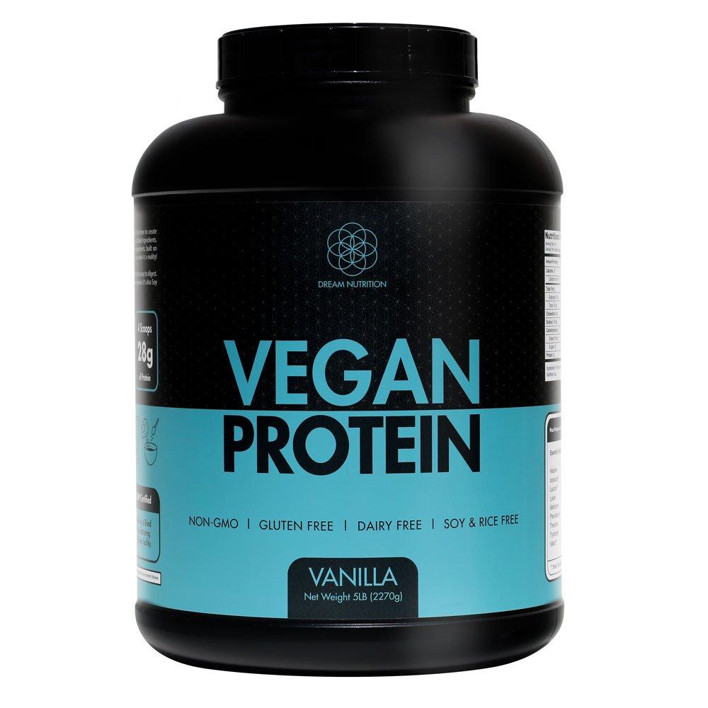 Dream Nutrition Clean Pea Protein Powder Vanilla | Vegan, All Natural, Non-GMO, Gluten Free | 5lbs up to 227 Servings