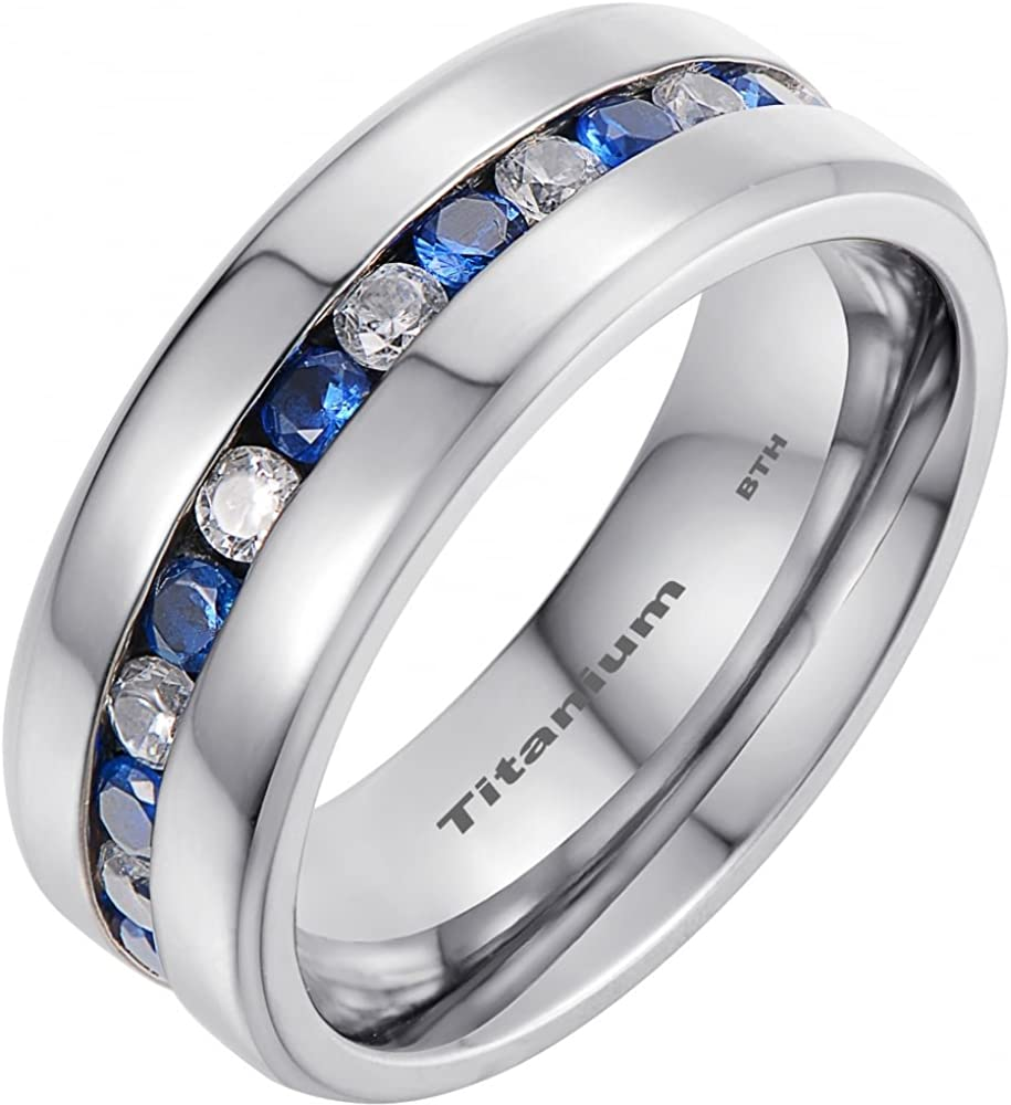 This is a graphic of Mens Titanium Ring With Blue Sapphire CZ Classic Wedding Engagement Band Ring