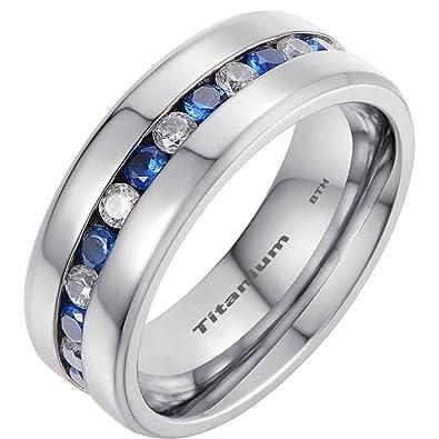 b9748de30e55 Anillo de compromiso titanio con azul zafiro CZ para hombre.  Amazon.es   Joyería