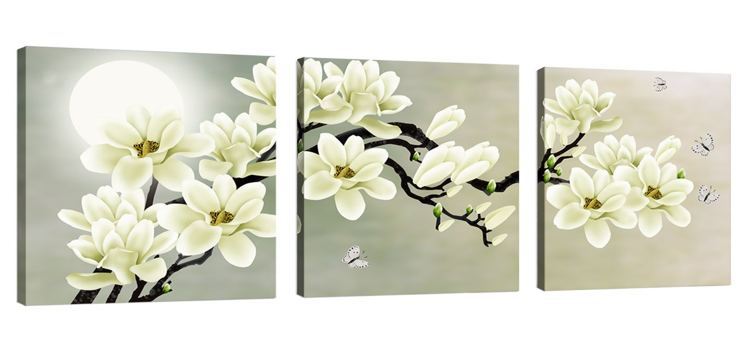 Natural art – White Magnolia & Butterfly Under the Moon Modern Giclee Canvas Prints Paintings to Photo Printed Artwork for Wall Decor by Natural art
