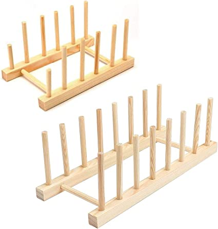 Wooden Bamboo Dish Stand Cup Cutting Board Holder Dish Drainer junao 2 Pack Bamboo Plate Racks Stand Storage CD Tableware Book Wine Glass for Bowl