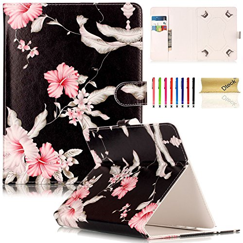 ch Tablet Case, Dteck Universal Kickstand Flip Wallet Case with Cards/Money Slots Magnetic Buckle Cover for All 7.5-8.5 inch iPad Mini, Galaxy Tab, Android IOS Tablet - Pink Floral ()