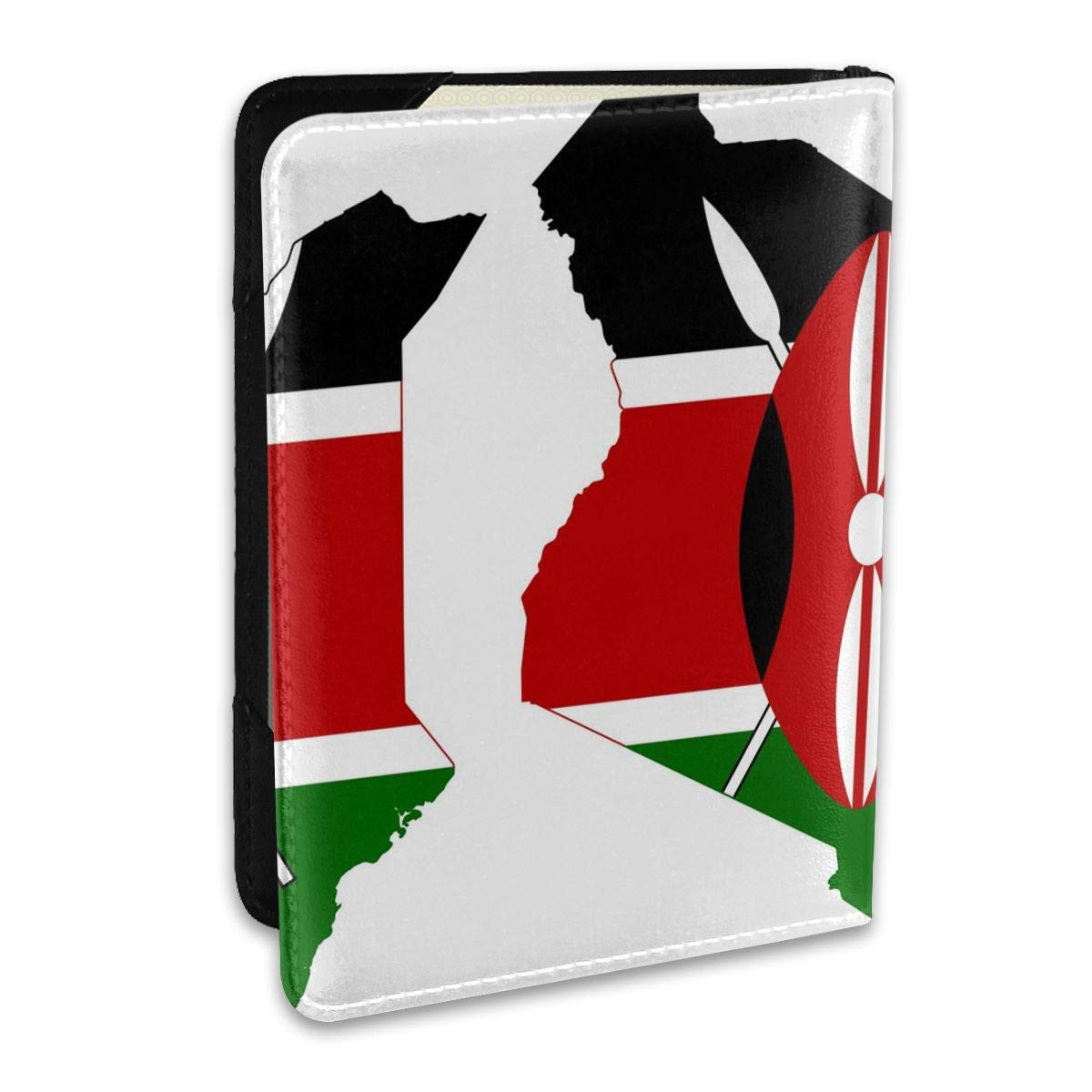 Large Flag Map Of Kenya Fashion Leather Passport Holder Cover Case Travel Wallet 6.5 In
