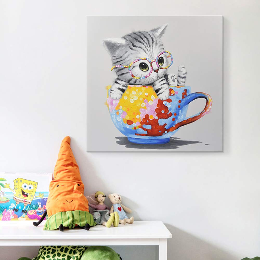 0b32cdba SEVEN WALL ARTS -Modern Hand-Painted Oil Painting Animal Cute Pet Cat  Artwork with Stretched Frame for Home Decor (Kitty on Colorful Cup, 24 x 24  Inch)