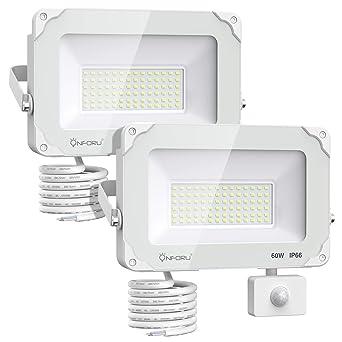 Onforu 60W Foco LED con Sensor de Movimiento (2 Pack), 6000LM ...