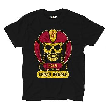 KiarenzaFD Camiseta Camiseta Hombre fútbol Pirata as Tifosi Ultras Fans Roma Sport gialloross: Amazon.es: Deportes y aire libre