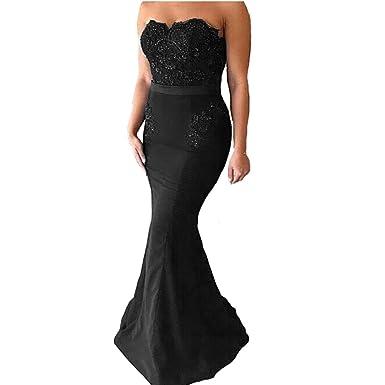 Yuxin Sexy Dark Navy Lace Mermaid Prom Dresses 2018 Strapless Elegant Long Bridesmaid Dresses Wedding Evening