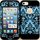 Wireless Fones Heavy Duty Hybrid Case for Iphone 5, 5S, 5th Generation - Victorian Vintage Damask Hard Plastic Snap on with Black Soft Silicone Gel