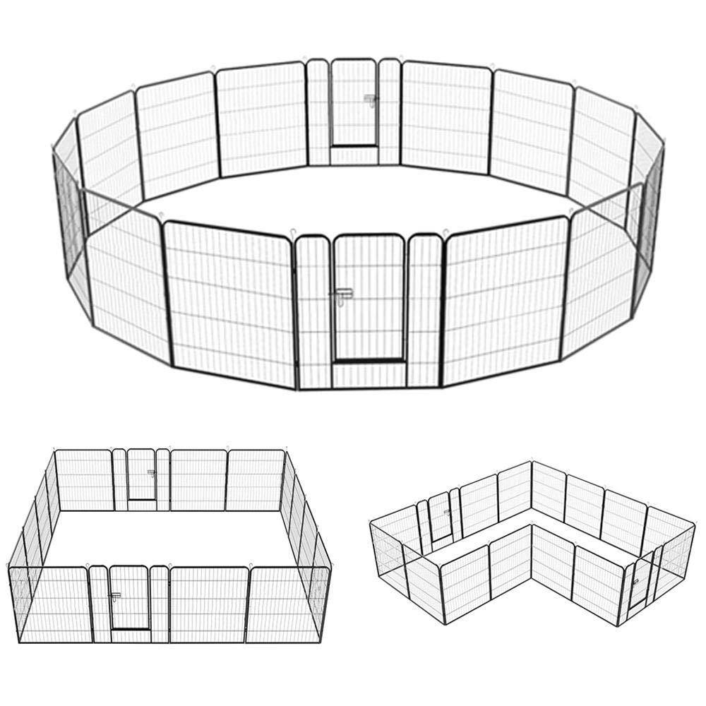 Yaheetech Dog Pen Playpen Play Yard Foldable – Portable Pet Puppy Cat Metal Exercise Barrier Fence w Door Outdoor Indoor 32-inch 8 16 Panel Black